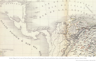 Detail, 'Mapa de las Costas de Tierra-Firme,' hand-colored lithograph, Physical and Political Atlas of the Republic of Venezuela by Agostino Codazzi (1840).