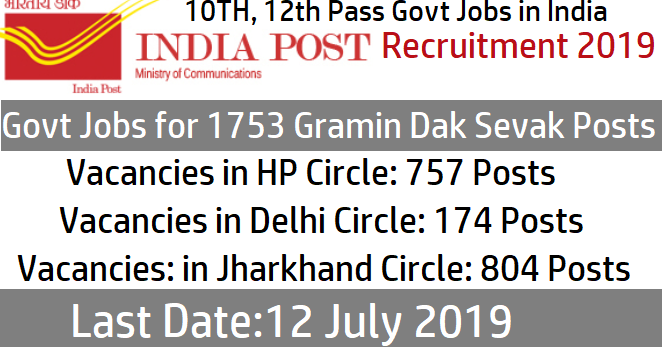 India Post Recruitment 2019 - Govt Jobs for 1753 Gramin Dak