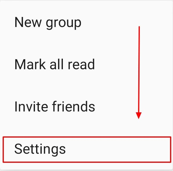 arrow pointing to settings of signal