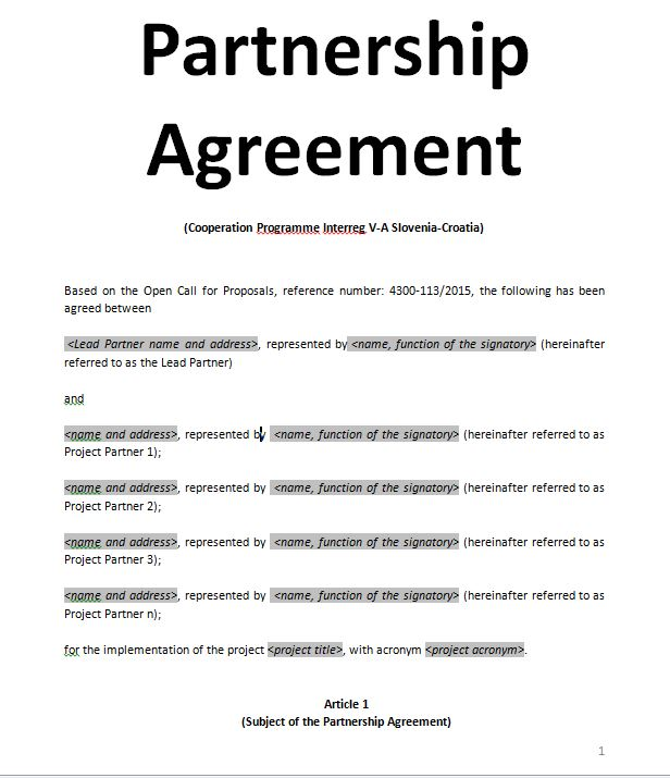 Exemples samples Partnership Agreement - doc and pdf Sample