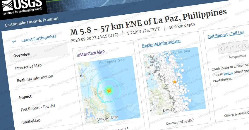 Terremoto en Filipinas de Magnitud 5.8 - Alerta de Tsunami (Hoy Domingo 20 Septiembre 2020) Sismo - Temblor - Epicentro - Mindanao - Philippines - USGS - www.earthquake.usgs.gov