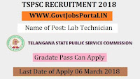 Telangana State Public Service Commission Recruitment 2018  - Lab Technician
