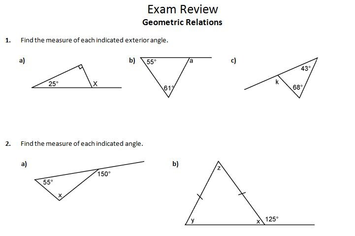 Ins 39 pi 39 re math mpm1d exam review 3 geometric relations - The exterior angle theorem answers ...
