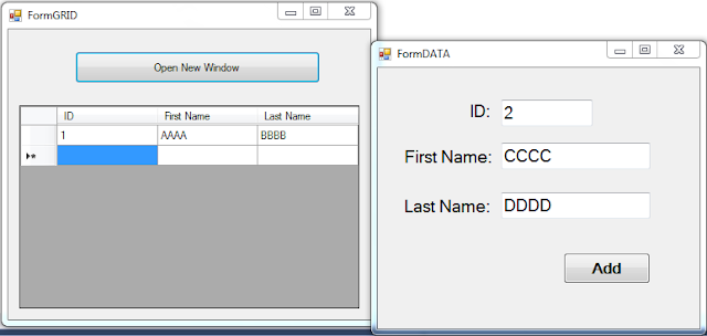 insert data to DataGridView from another form in vb