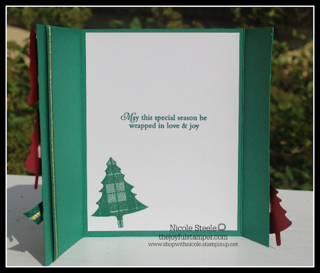 Inside of gate fold Perfectly Plaid card by Nicole Steele The Joyful Stamper