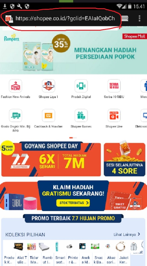 Login Akun Shopee dengan Web Browser