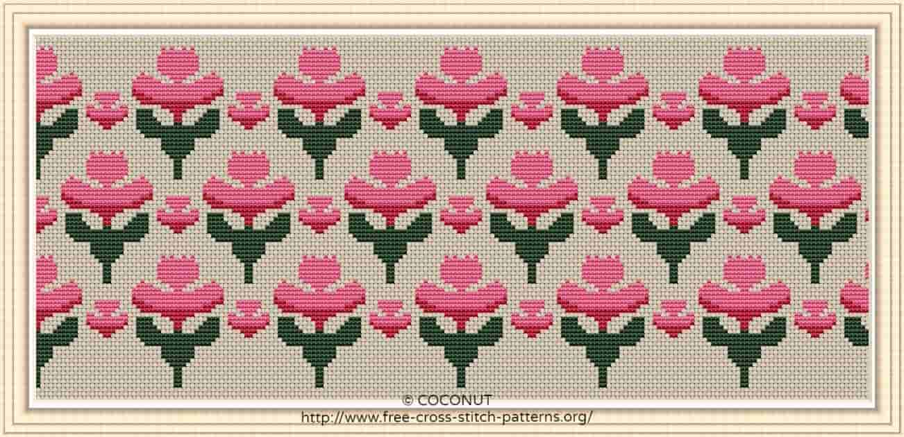 FLOWER BORDER (14) , FREE AND EASY PRINTABLE CROSS STITCH PATTERN