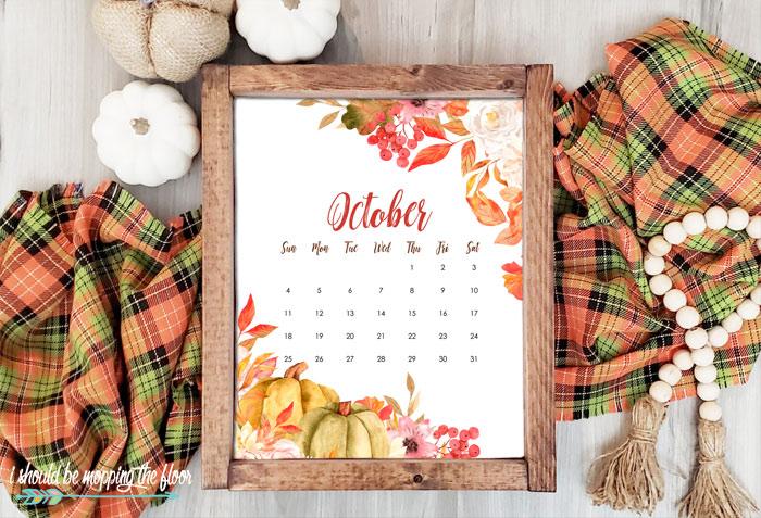 2020 October Calendar Printables