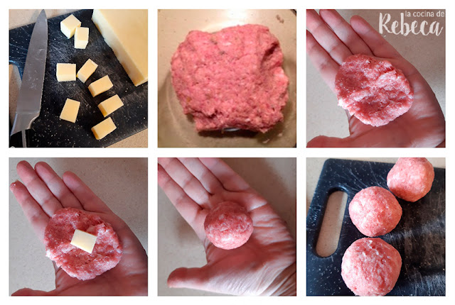 Receta de albóndigas rellenas de queso en salsa de tomate: relleno y formado