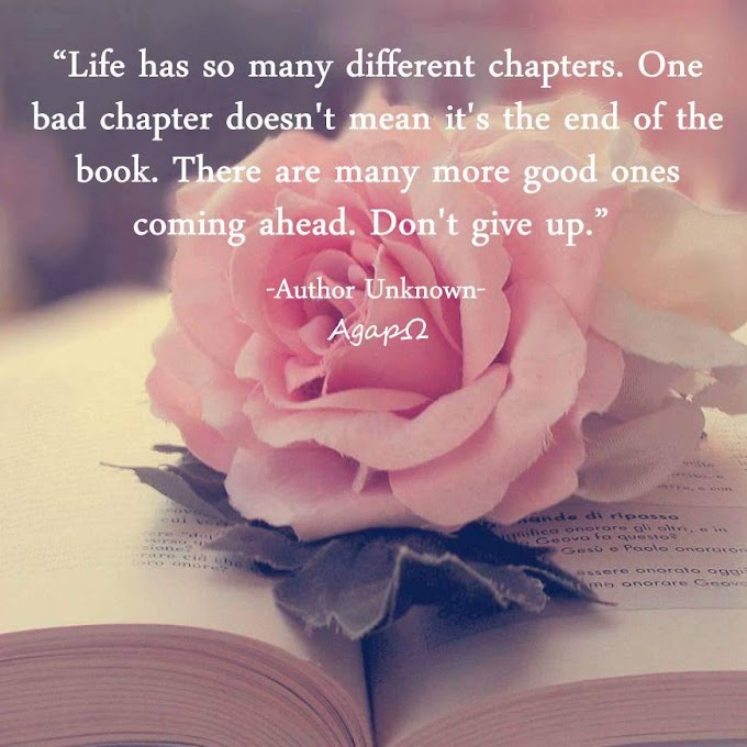 Life has so many different chapters. One bad chapter doesn't mean it's the end of the book. There are many more good ones coming ahead. Don't give up.