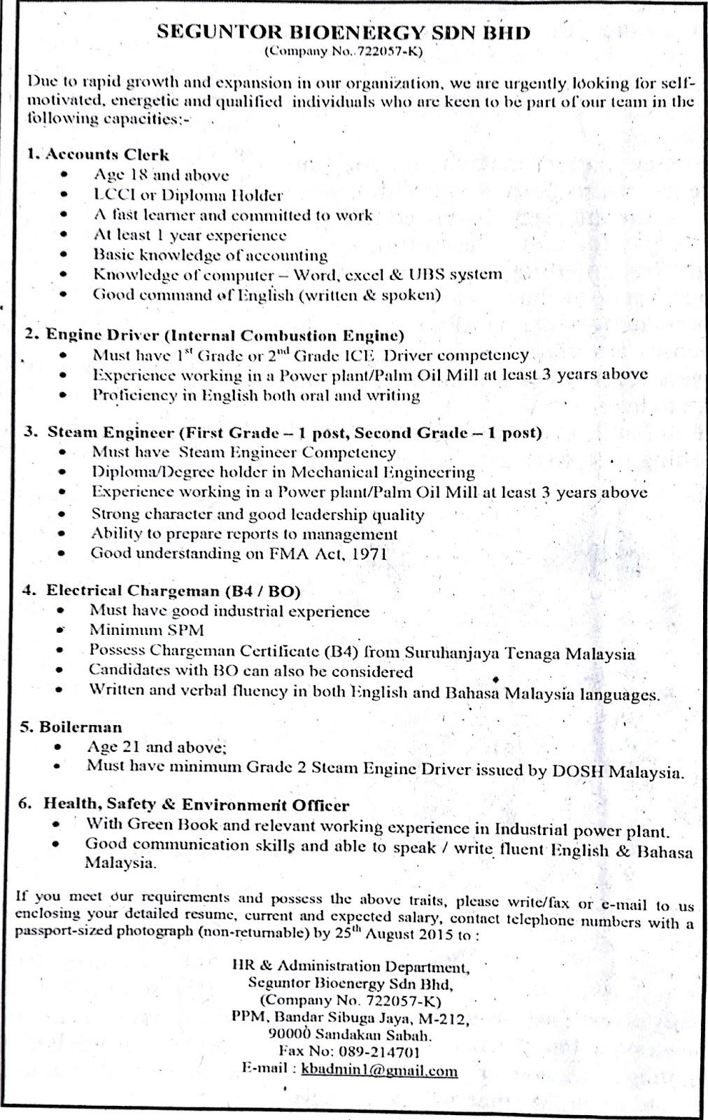 Account Clerk, Engine Driver , Steam Engineer, Electrical