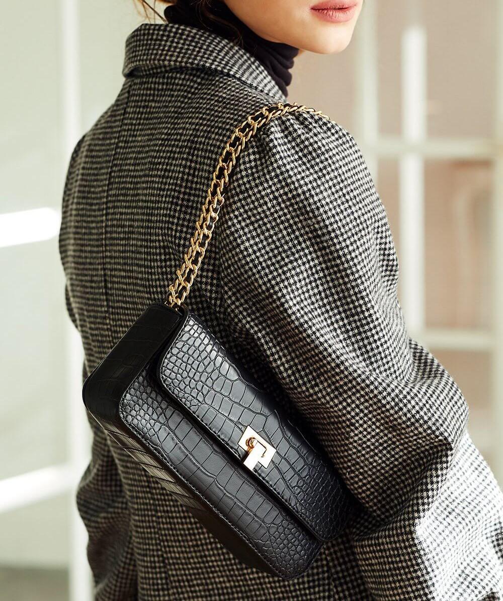 croc clutch purse with chain strap