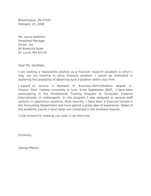 Application Letter Sample for Financial Research Assistant