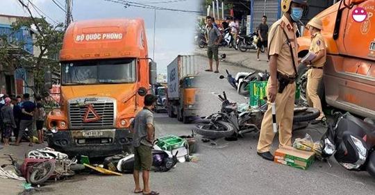 Do uống RƯỢU, tài xế xe container ủi liên hoàn 7 xe máy vào gầm khi đang chờ đèn đỏ