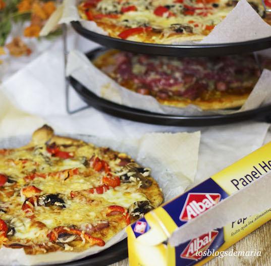 Pizzas individuales variadas, papel de horno Albal
