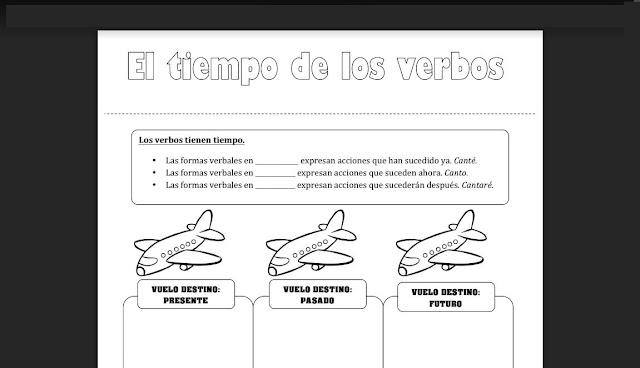 recortables,verbos,ficheros,primaria,material
