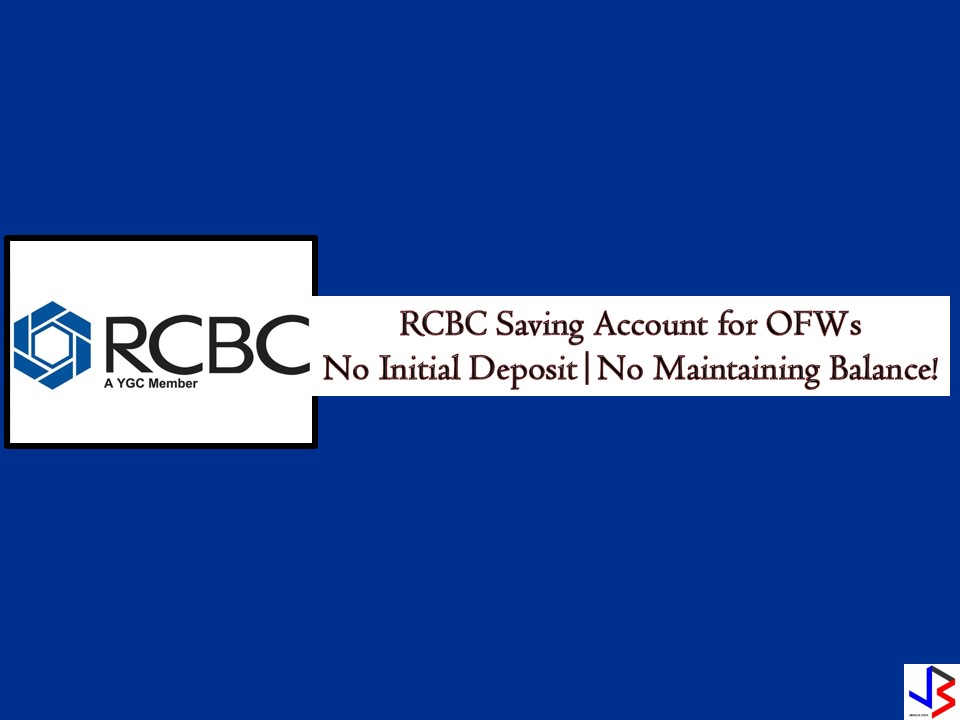 As Overseas Filipino Workers (OFWs), it is very important that we have a savings account where we can put our money for the future. It could be your emergency fund, savings for your dream business, for future investments or for your retirement. For OFWs, going to the bank to check your money is a bit hassle. This is the reason why Rizal Commercial Banking Corporation (RCBC) is offering a savings account to OFWs that is hassle-free at all times.  This is called TeleMoney where global Filipinos including OFWs can save their money by opening a TeleMoney Savings Account. According to its website, this savings account is easy and convenient. It comes with RCBC ATM Card and or a passbook. TeleMoney ATM account holders can also request for their quarterly Statement of Account.  Product Feature: Minimum Initial Deposit   Peso ATM Savings Account — 0 USD Passbook Savings Account — USD100  Minimum ADB Requirement* Peso ATM Savings Account — 0 USD Passbook Savings Account — 0  Minimum ADB to Earn Interest  Peso ATM Savings Account — P10,000 USD Passbook Savings Account — USD1,000  Interest Rate Peso ATM Savings Account — 0.15% USD Passbook Savings Account — 0.125%  Both accounts can be accessed through the over-the-counter transaction and RCBC Online Banking.  Note: Zero maintaining balance status can be maintained with at least one remittance a year.   Requirements for Opening an Account:  One valid photo-bearing government-issued identification card and proof of address  List of acceptable IDs  Passport Driver's License Professional Regulations Commission (PRC) ID National Bureau of Investigation (NBI) clearance Police Clearance Postal ID Voter's ID Tax Identification Number (TIN) Barangay Certification GSIS e-Card SSS Card Senior Citizen Card OWWA ID OFW ID Seaman's Book Government Services and Insurance System (GSIS) e-Card Social Security System (SSS) Card Philippines' Unified Multi-Purpose ID Senior Citizen Card Philhealth Health Insurance Card ng Bayan Overseas Workers Welfare Administration (OWWA) ID