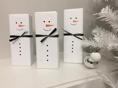 lumiukko lahjakääre, diy joululahja, askarteluidea, askartelu ideoita, diy lumiukko, lahjapaketti