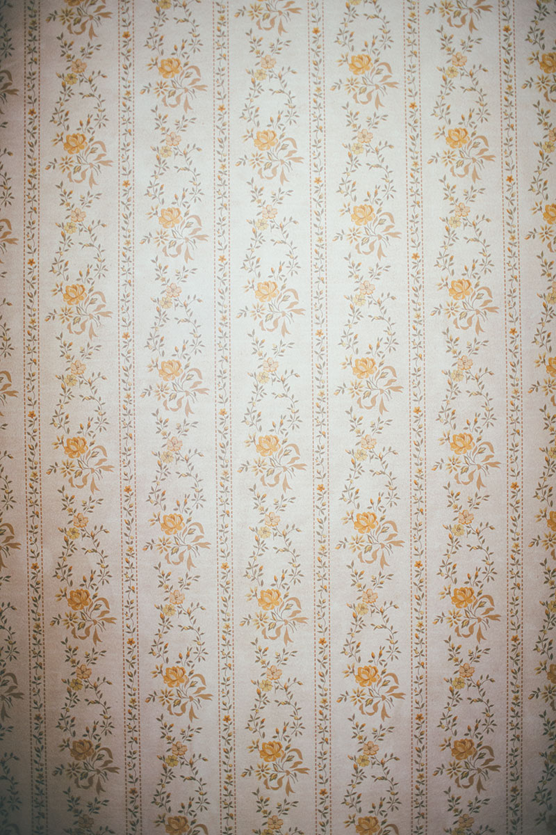vintage floral wallpaper in older home closet
