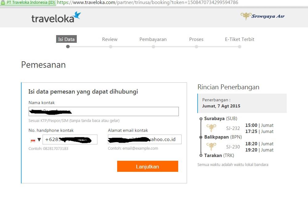 Pesan Tiket Pesawat Sriwijaya Via Traveloka Dengan Kartu Kredit Bni