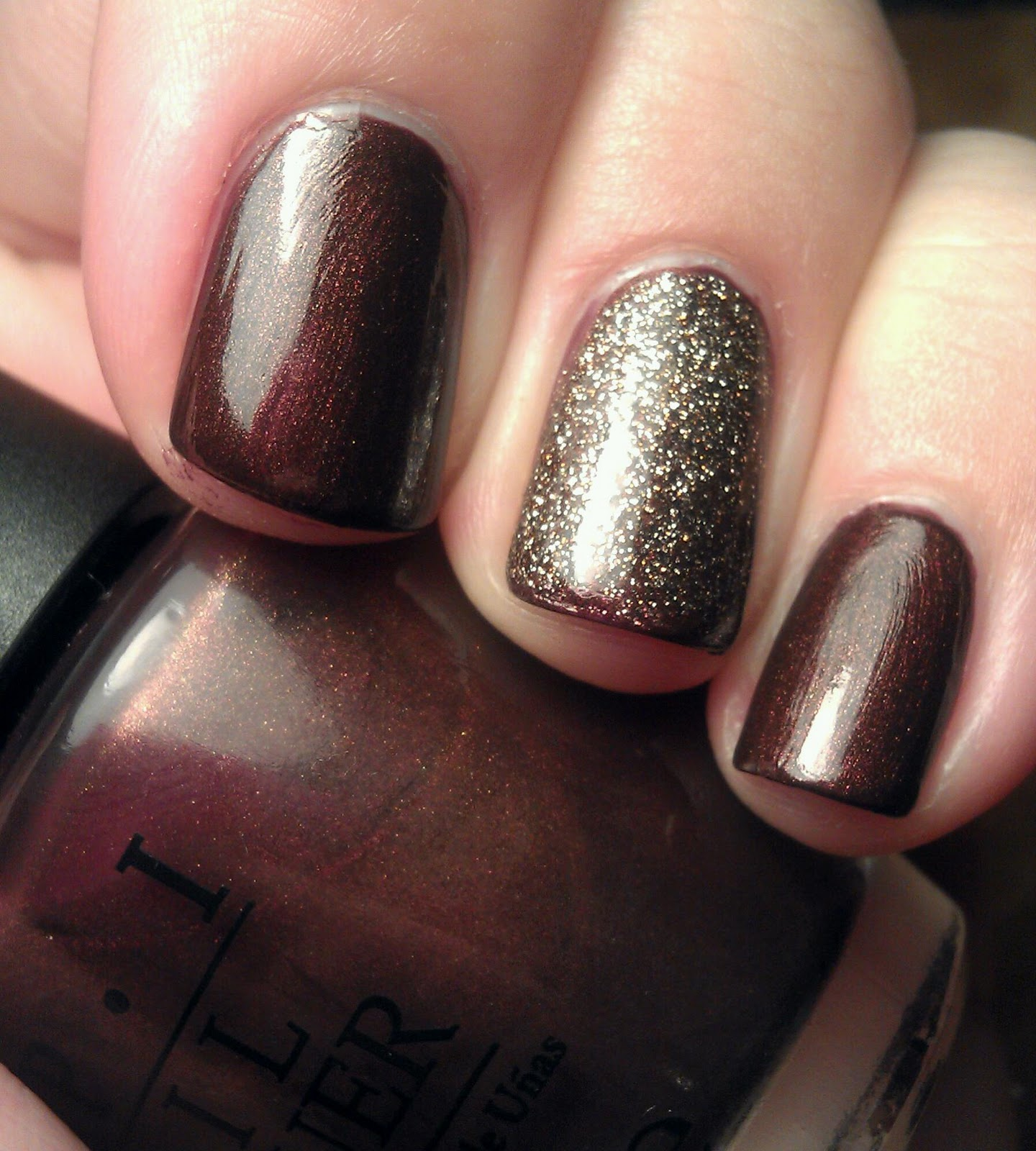 Cherryglamgirl Opi Espresso Your Style W Nubar Brown Gold Glitter Accent Nail
