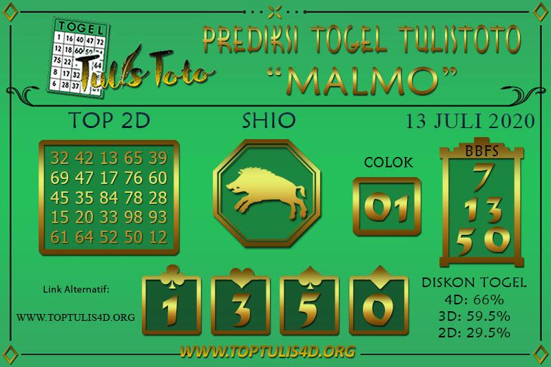 Prediksi Togel MALMO TULISTOTO 13 JULI 2020