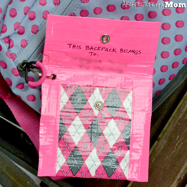 Duck Tape Backpack Tag Pouch