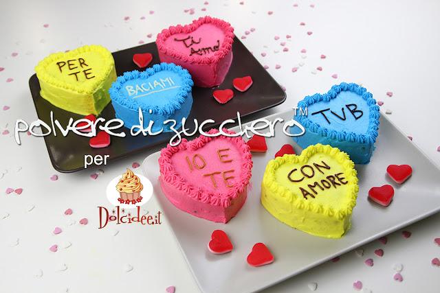 san valentino tortine colorate con scritte torte a forma di cuore cake design cake art polvere di zucchero cameo paneangeli dolcidee