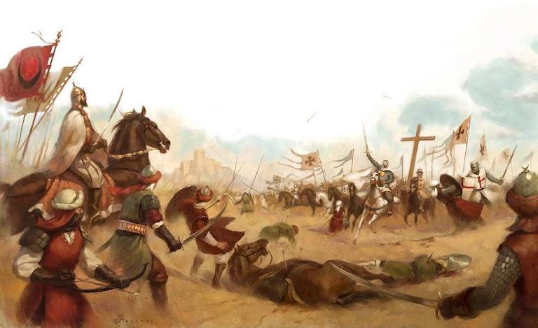 Saladino viu aparecer subitamente o rei leproso e seu pequeno exército