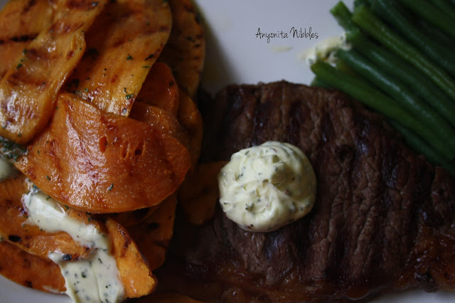 Grilled sweet potatoes with coriander chilli butter and sirloin steak from www.anyonita-nibbles.com