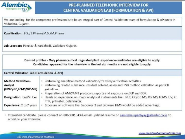 Alembic Pharma | Pre-Planned Telephonic interview for Method Validation at Vadodara