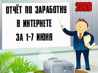 Отчёт по заработку в Интернете за 1-7 июня 2020 года