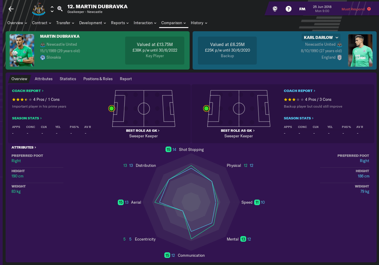 FM19 Newcastle United Goalkeepers