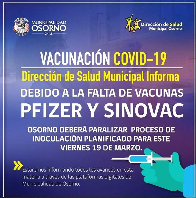 Paralizan proceso de vacunación en Osorno