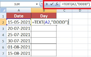 How to find Day Name from Date in Excel in Hindi (Using Text Function)