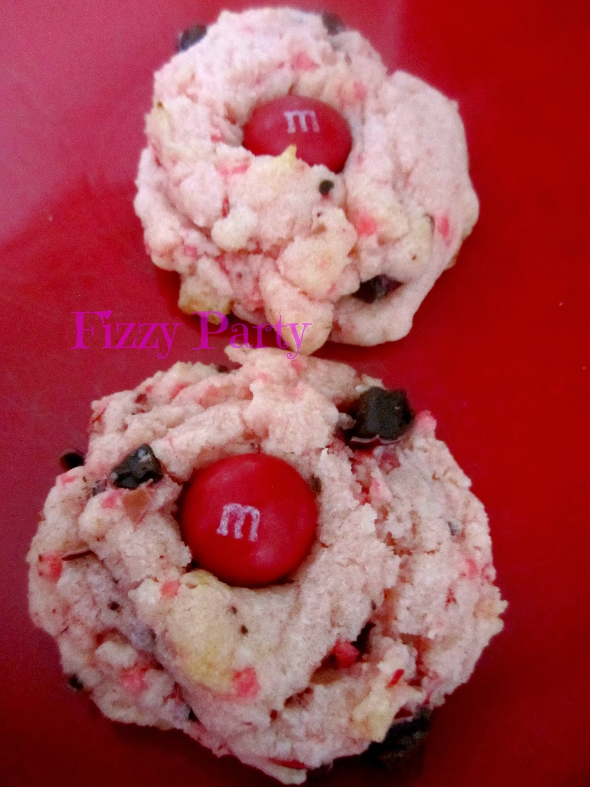 Valentine Cookies, Pillsbury cookies, Cherry M & M's
