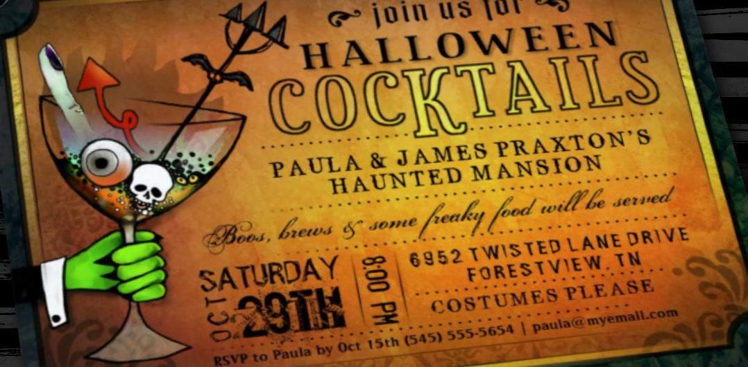 Spooky Cocktails- Orange & black Halloween Invitation