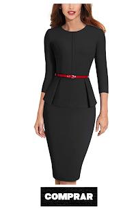 HOMEYEE Negocio Vestido de Mujer Cuello Redondo Peplo Cinturón