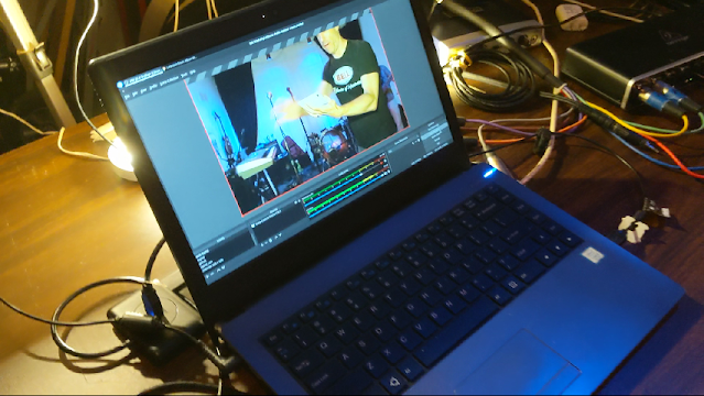 picture of laptop on a table running OBS software