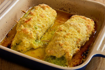 chicken baking for Baked Chicken Stuffed with Pesto and Cheese found on KalynsKitchen.com