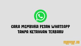 Cara Membuka Pesan WhatsApp Tanpa Ketahuan Terbaru
