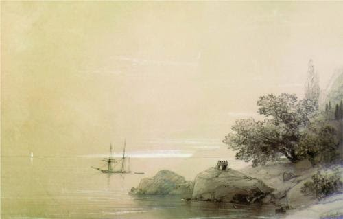 Ivan Aivazovsky Sea Against a Rocky Shore