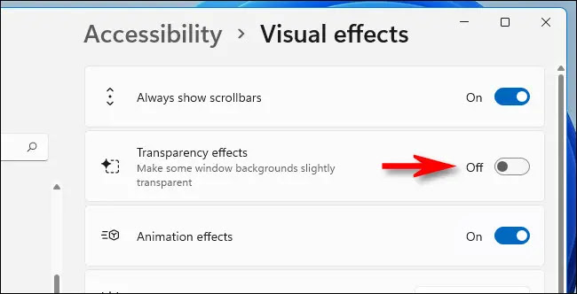win11 transparency effects off