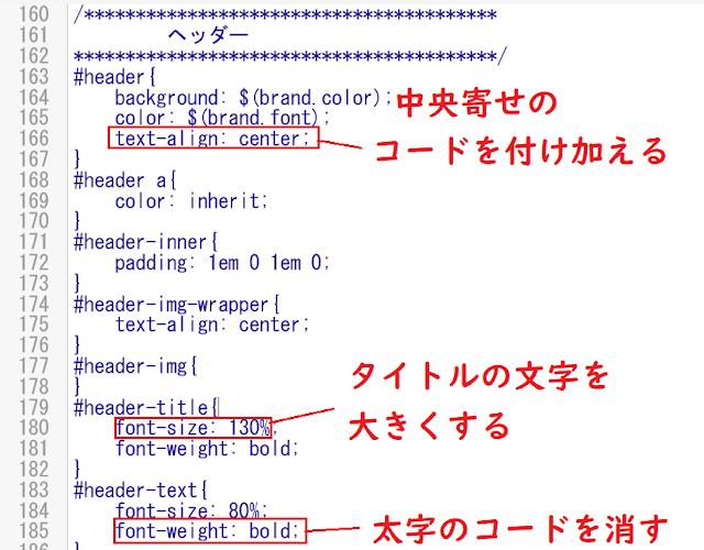 ヘッダーのHTML編集