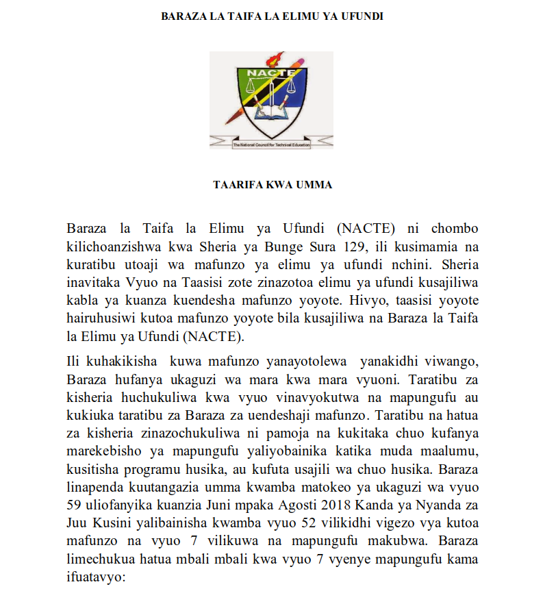NACTE: DISSOLUTION AND TERMINATION OF SEVEN (7) INSTITUTIONS BY NACTE IN TANZANIA