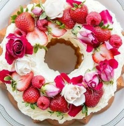 Vanilla bundt cake with rosewater buttercream