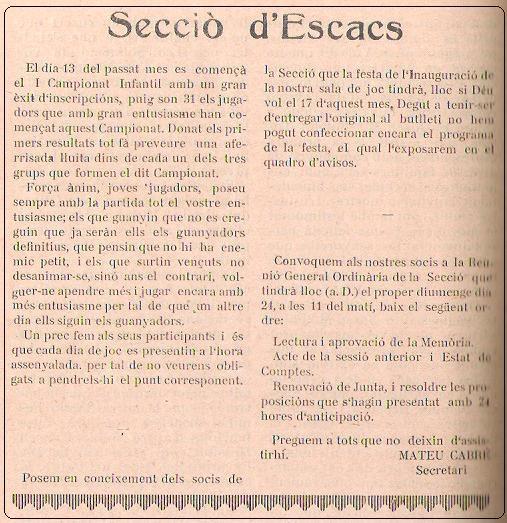 Boletín 114 del Casal Catòlic de Sant Andreu, enero de 1932