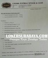 Karir Surabaya Terbaru di Livana Roemah Spikoe & Cake Oktober 2019