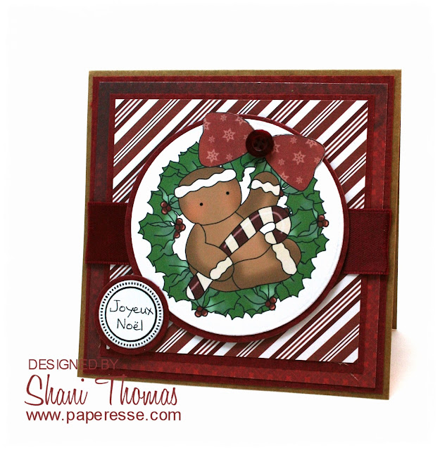 Gingerbread Man & Candy Cane Christmas card, featuring Digi Web Studio Cheryl Seslar Sweet Wreaths topper, by Paperesse.