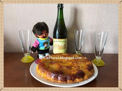 kiki monchhichi, gâteau renversé aux pommes caramélisées, gâteau normand, recette